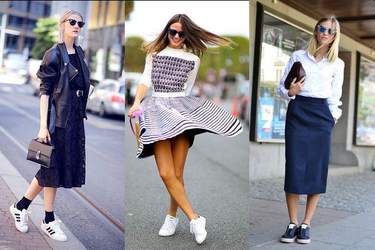 Sportowe buty do eleganckiego stroju, sukienki lub spódnicy | Retromoderna