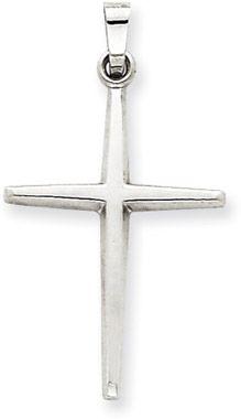 "ApplesofGold.com - 14K White Gold Polished Cross Pendant 7/8"""