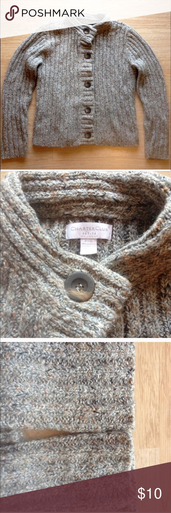 Charter Club wool sweater - very lightly worn Reposting a bundled item that didn't quite work for my fit needs. It's a borderline steel wool/grey-blue base tone to the gray with flecks of rust colored wool. Light weight in feel but real wool warmth. It's a petite length. Charter Club Sweaters Cardigans