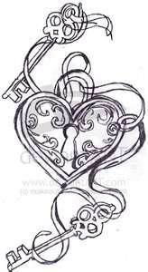 heart with lock and key tattoo on wrist | key to my