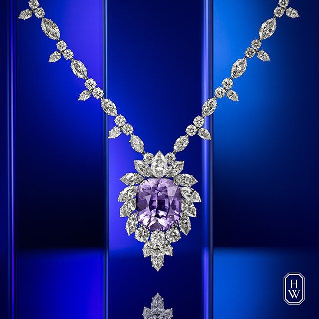 Harry Winston presents the Purple-Pink Sapphire and Diamond Necklace featuring the remarkably rare 65.32 carat Purple-Pink Sapphire.