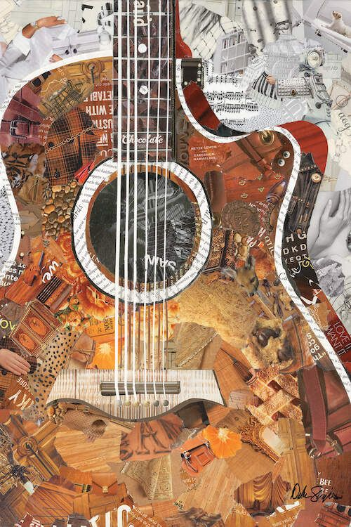 Collage wall art of an acoustic guitar in brown on a white background. The original art was made from torn magazines ripped and cut, and pasted onto a canvas by Akron artist Deborah Shapiro. Giclee prints for sale. Collage Kunst, Music Collage, Paper Collage Art, Paper Art, Create Collage, Collage Making, Mixed Media Collage, Magazine Collage, Magazine Art