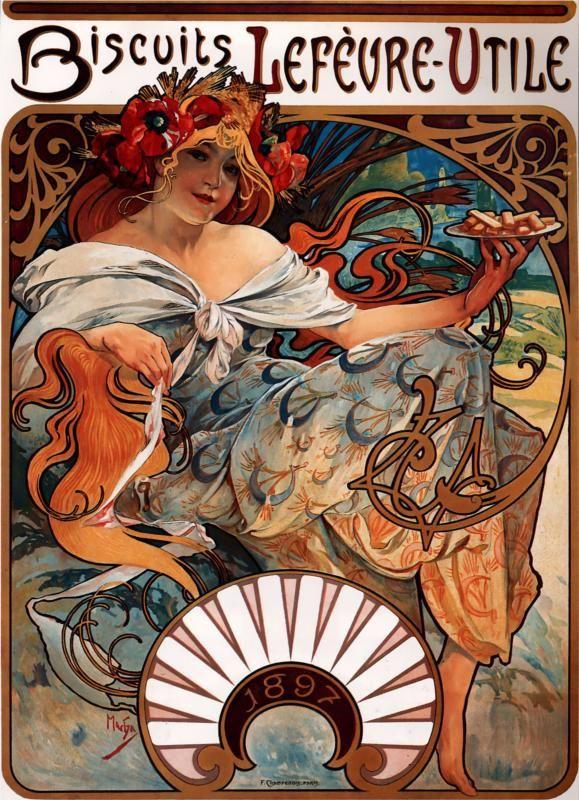 Biscuits Lefevre Utile, 1896 Alphonse Mucha.