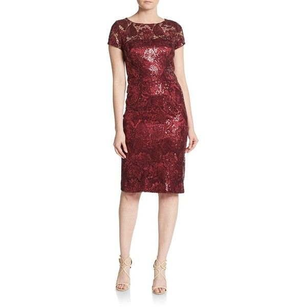 David Meister Sequined Tapestry Dress ($170) ❤ liked on Polyvore featuring dresses, garnet, sequined dresses, short sleeve sequin dress, red dress, red sequin dress and david meister dresses