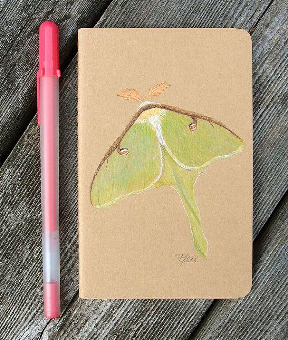 Luna Moth Hand Painted Notebook  Dream by KelliMcNicholsArt