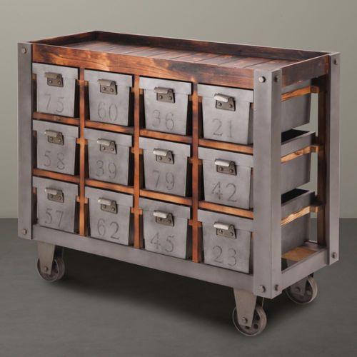 Faux Wheels Modern Industrial Rustic Storage Bin Console Table New