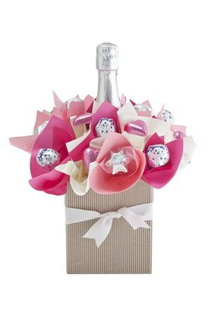 Champagne and chocolate bouquet gift