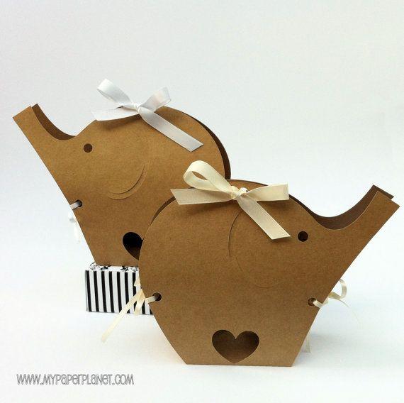 Natural Brown Kraft Elephant Baby Shower gift boxes. Neutral baby shower decor, gender reveal, original design. Safari birthday party favor boxes.