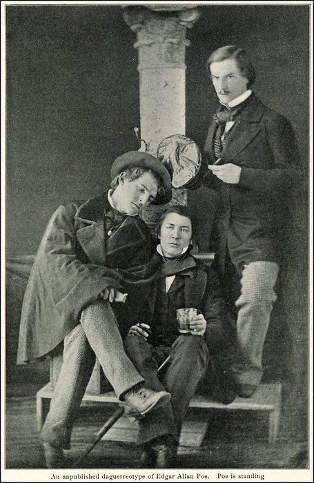 Edgar Allen Poe daguerreotype, he is the one standing.