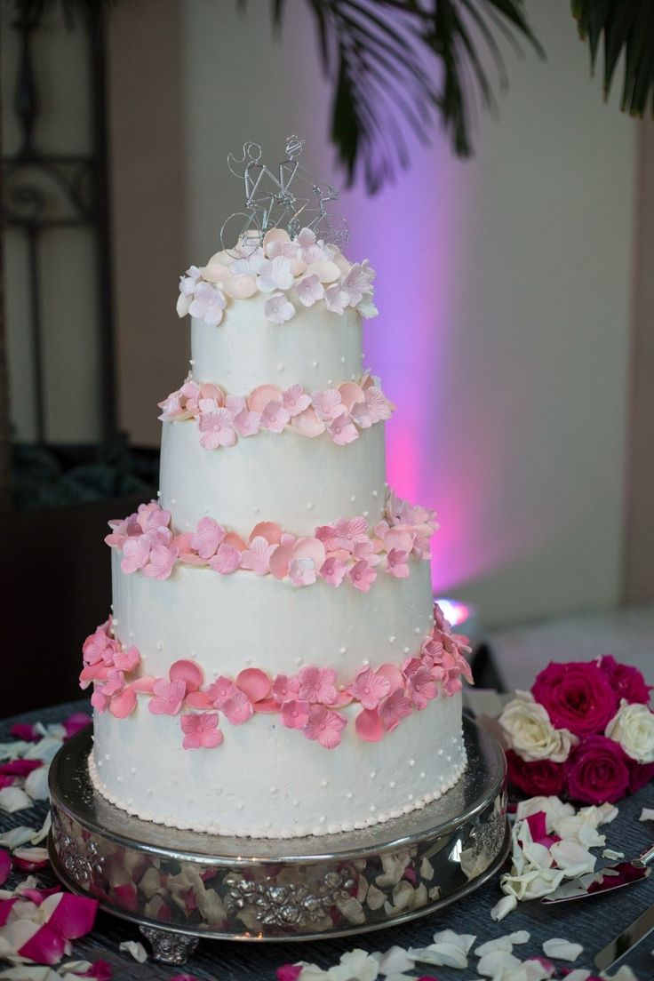 Four tiered pink & white wedding cake // Rachel V Photography