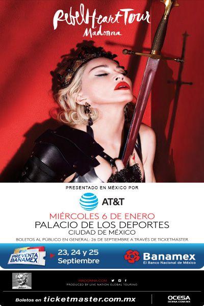 Madonna, 6 y 7 de enero, Palacio de los Deportes #RebelHeartMx
