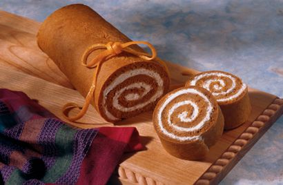 Pumpkin Roll. Diabetic Friendly Recipe. Great for Autumn and Halloween Parties. Diabetic Gourmet Magazine  DiabeticGourmet.com