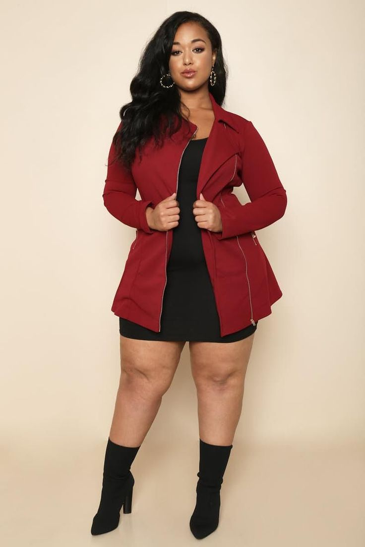 A fashion forward plus size jacket to wear for the fall season. Features a zip-up style with zipper embellishments on the fabric. Also includes a notched collar and a form-fitting silhouette.