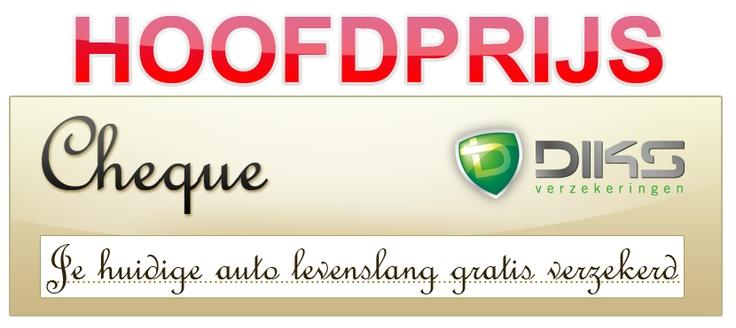 """Hoofdprijs van de actie """"Mijn eerste Auto"""" Je huidige auto levenslang gratis verzekerd! http://www.diks.nl/mijn-eerste-auto/"""