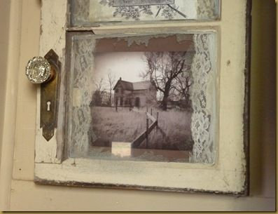Old window, old lace and old photos...love this idea
