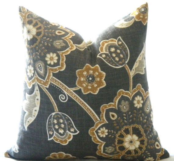 Designer pillow cover Charcoal grey and floral, Toss pillow, throw pillow, sofa pillow Yellow ...
