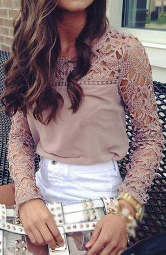 Glamorous Long Sleeve Round Neck Pierced T Shirt
