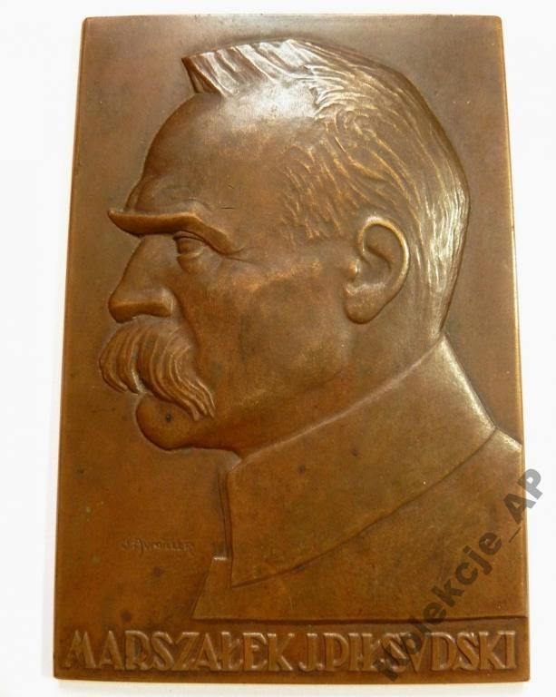 II RP - Plakieta Józef Piłsudski 91x61 mm. (710)