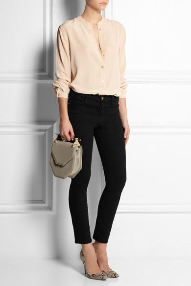 Equipment .. a blush washed silk blouse .. black jeans.. and those shoes!