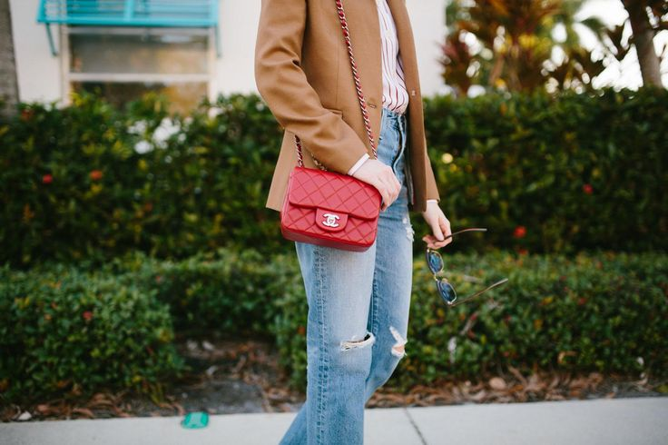 Brown blazer with boyfriend jeans and Chanel bag