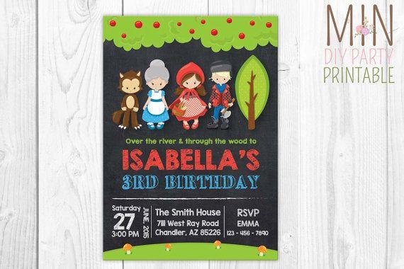 Petit Red Riding Hood fête Invitation 3, Red Riding Hood Invitation, rouge équitation capuche anniversaire, anniversaire, de chaperon rouge équitation partie capuche