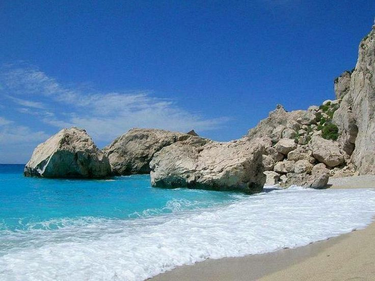 Megali Petra beach in Lefkada island, Greece