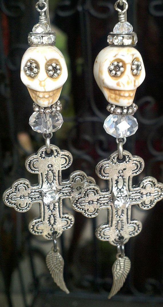 SKULL EARRING. Sugar Skull Earring. Wing by SecretStashBoutique, $14.99