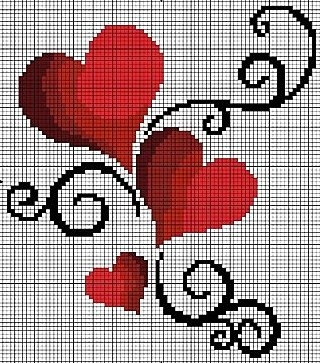 cross stitch hearts.. no color chart, just use pattern chart colors as your guide.. or choose your own colors.