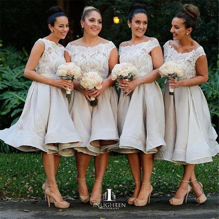 2015 New Arrival Tea Length Short Bridesmaids Dresses A Line Scoop Vintage Lace Plus Size Formal Prom Dresses For Juniors