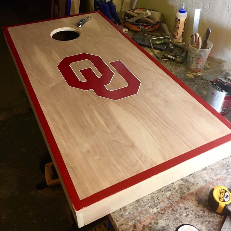Progress photo of a clients cornhole board! Need to add the legs white border and protect with polyurethane! Haven't posted on a while I feel like! #thecollegewoodworker #woodwork #woodworking #va #virginiabeach #virginia #woods #football #college #collegefootball #tailgate #diy #woodworker #garage #woodshop #spring #daylightsavings #oklahoma #ou #oklahomauniversity #cornhole #solocup #beer #brew #party de thecollegewoodworker