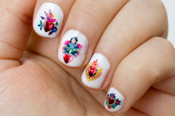 Mexican Milagros Heart Nail Decals by obscuraoutfitters on Etsy, $8.00