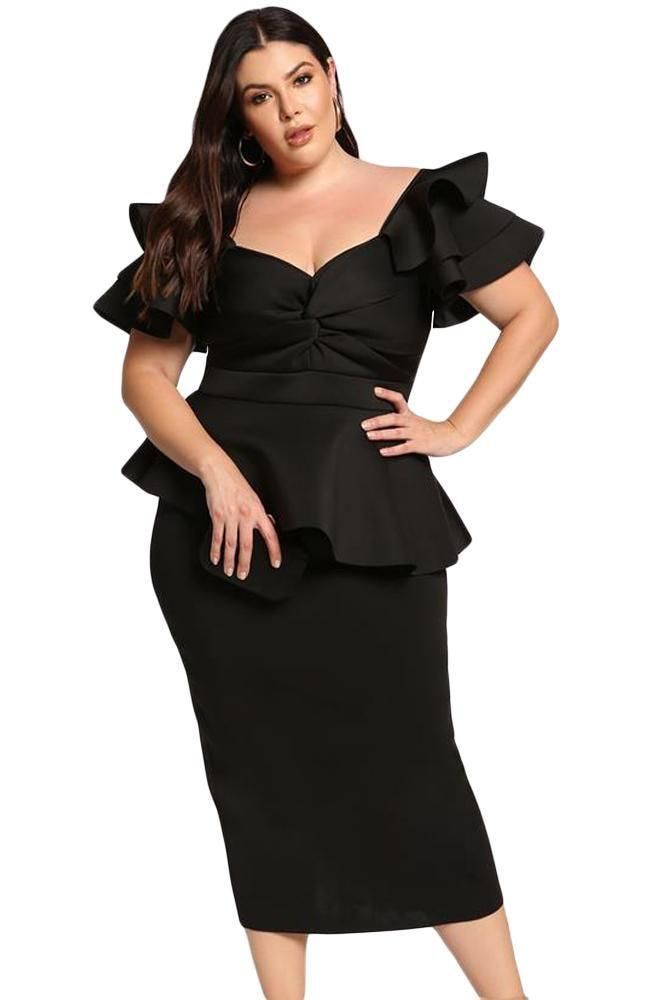 04a774e24e9e Black Plus Size Tiered Sleeve Peplum Midi Office Dress in 2019 ...