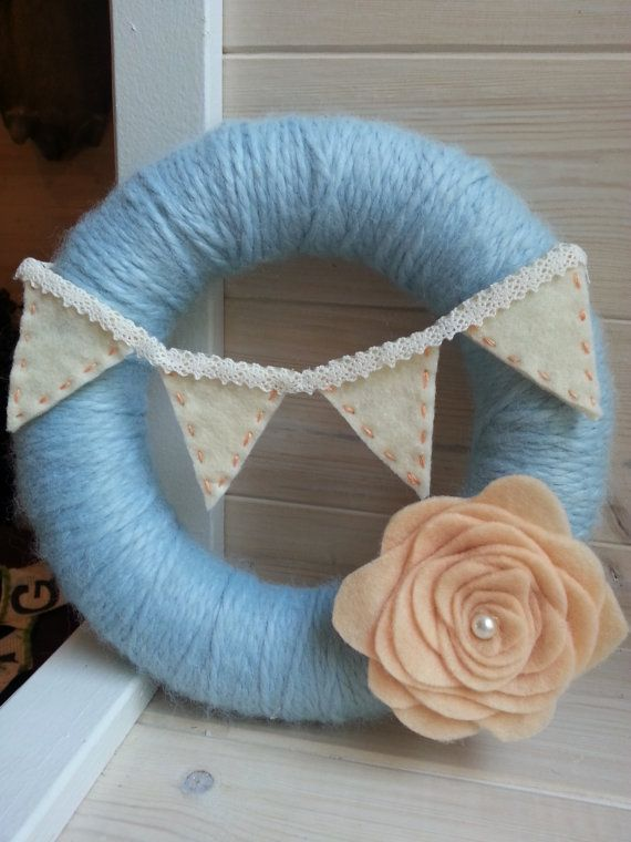 Yarn wrapped wreath Shabby chic bunting wreath Home decor by SparrowNbirch, Etsy Shop