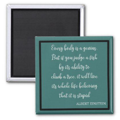 Einstein Famous Fish Quote Teal Gift Fridge Magnet - home gifts ideas decor special unique custom individual customized individualized