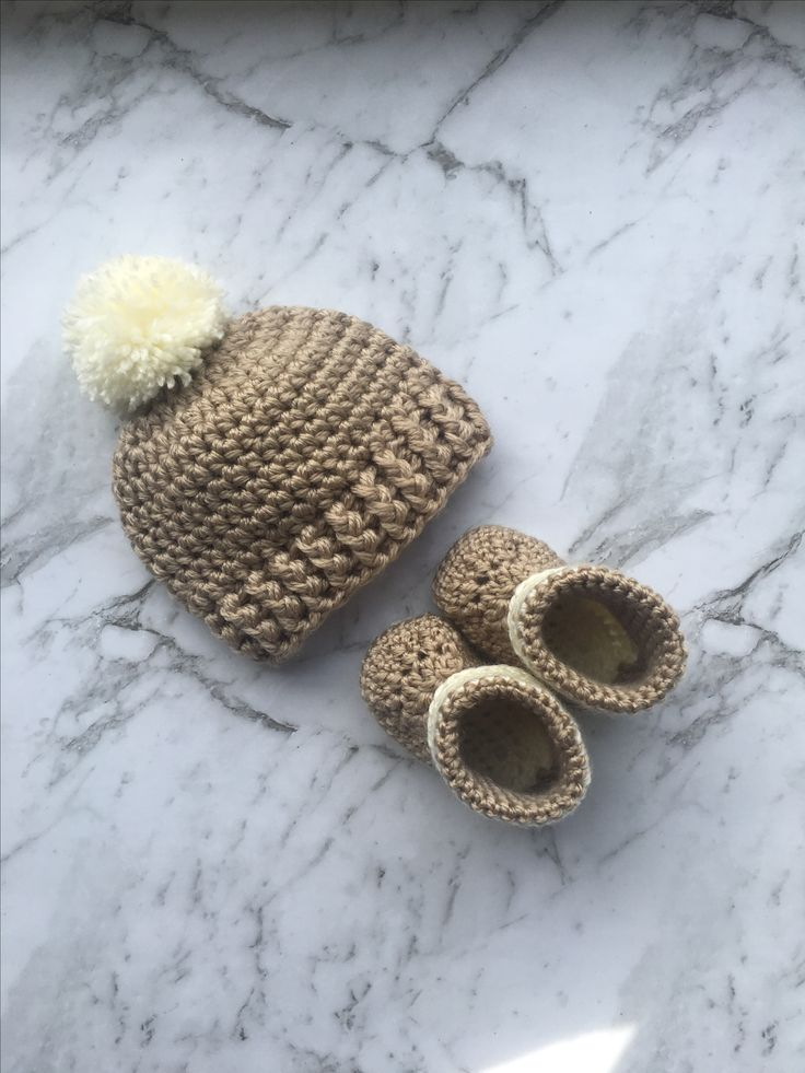 Crochet baby beanie and booties