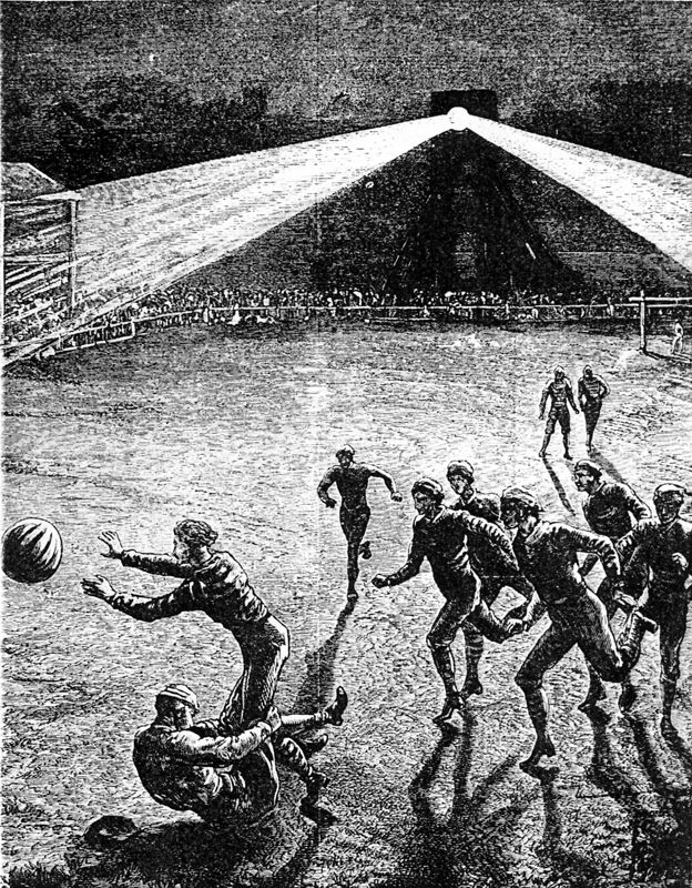 Artists impression of a Floodlit Football Match, Bramall Lane probably the first ever played under floodlights, the match was  played between Sheffield F.C and Hallam F.C