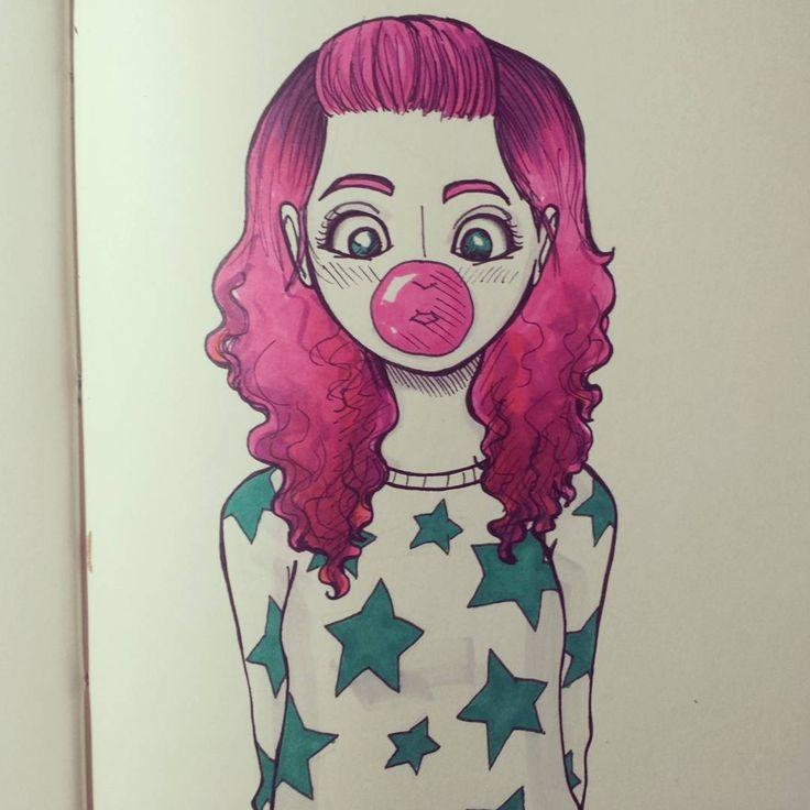 Bubble gum #sketchoftheday #sketch #boceto #dibujodeldia #dibujo #dibujando #draw #drawing #drawingaday #illustration #ilustración #personaje #character #girl #niña #sketchbook #bitácora