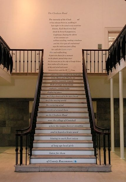 Alice Lyons' Staircase Poems -- a year-long public art project, with one poem installed per month