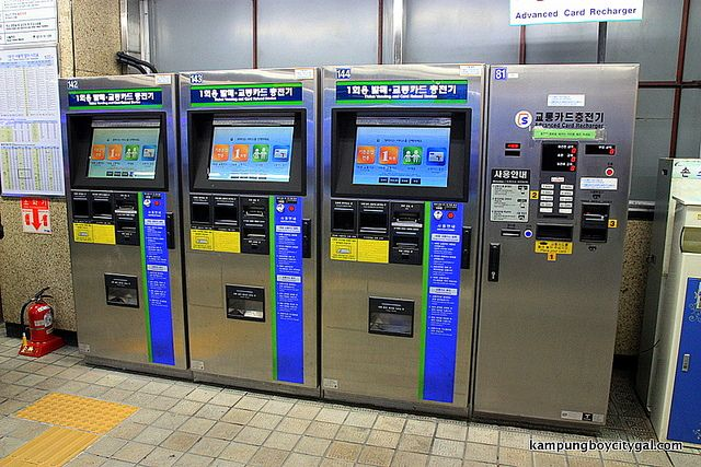 Subway systems offer a convenient way of exploring metropolitan cities in Korea. A single journey ticket within 10 km distance costs 1150 won but if you are using the T Money card, it is 1050 won.  Single Journey Tickets can be purchased using the Ticket Vending and Card Reload Devices located inside subway stations. The Devices are operated in Korean, English, Japanese and Chinese. Single journey cards can be used only on the subway.