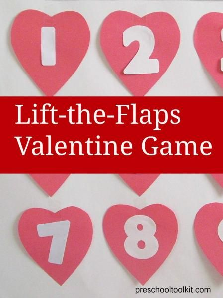 Valentine Game - lift-the-flaps game includes gross motor movements for preschoolers