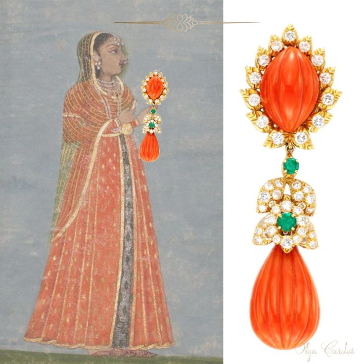 Indian inspiration. David Webb earrings with carved corals, emeralds and diamonds.