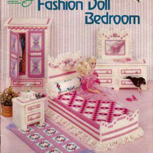 Camera da letto bambola di moda In Plastic Canvas per Barbie American school of Needlework 3060