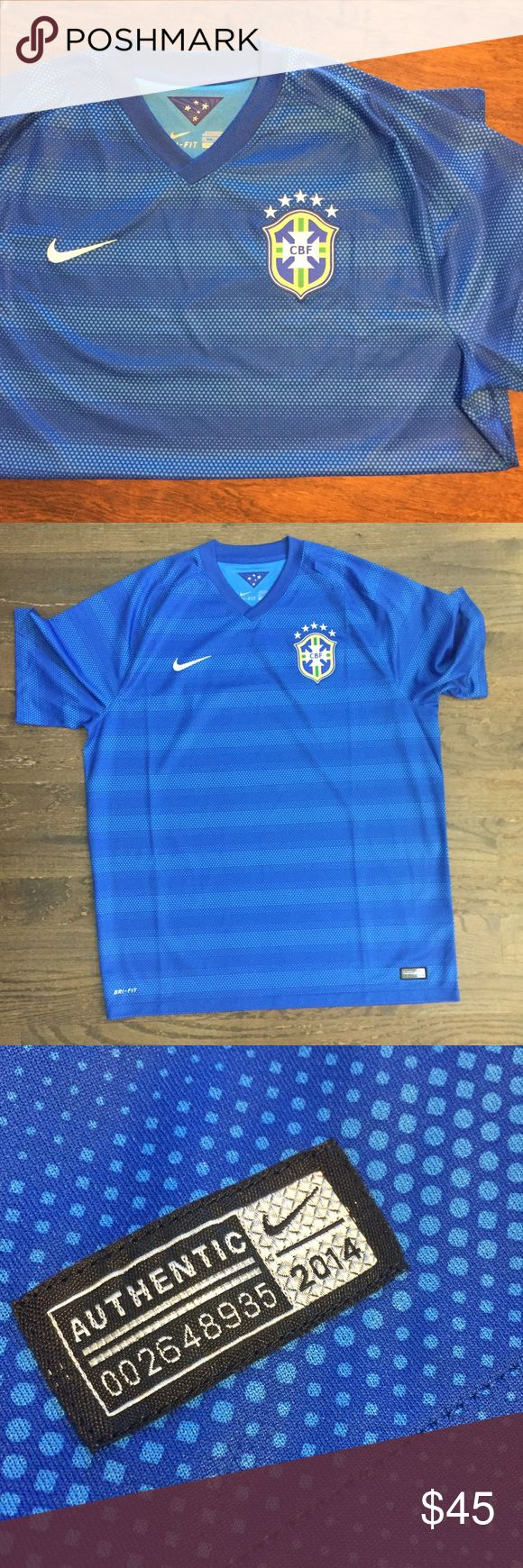 Nike Dri-Fit Brazilian National Team Soccer Jersey Nike Dri-Fit Brazilian National Team Soccer Jersey.   Authentic jersey tag with # at bottom right.   Dated 2014, so is the official team jersey from that year.   This blue jersey was their away jersey that year.   Brand new!   Never worn!   Was purchased in Brazil, but is the wrong size.   Size XXL.  No tags.  CBF stands for Confederação Brasileira de Futebol.   Offers totally welcome!  Take advantage of bundles for a discount and to…