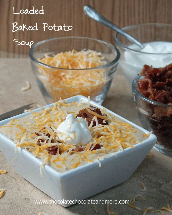 Loaded Baked Potato Soup - perfect for a chilly day via @Joan | ChocolateChocolateandmore