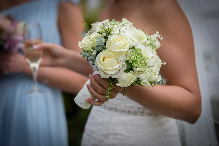 Pin from ashtonphotography.co.uk: Lovely collection of white Roses, Viburnum Opulus and Lily of the Valley for Rick & Lou's wedding at Bartle Hall
