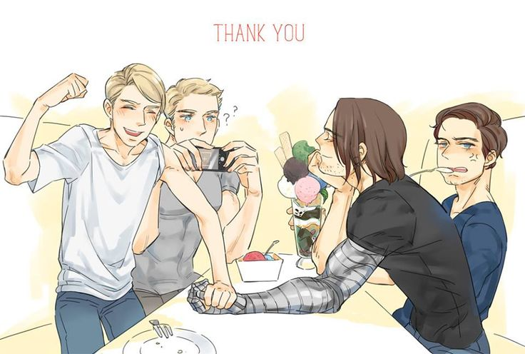 This is absolute perfection. | Confused Steve taking a picture of happy (mind you the wrong way... Steve's still not the best with tech, guys), oblivious Bucky, who's just thrown an arm-wrestling match with Skinny Steve in the privacy of his own mind. Meanwhile, Bucky's inner Old Bucky is eating his ice cream and pulling sarcastic faces. Yes. This is perfection.