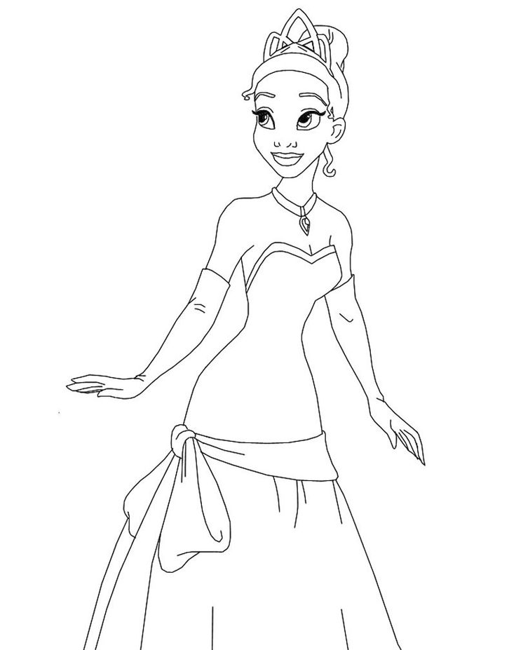 Princess Tiana Looking At Something There Coloring For Kids