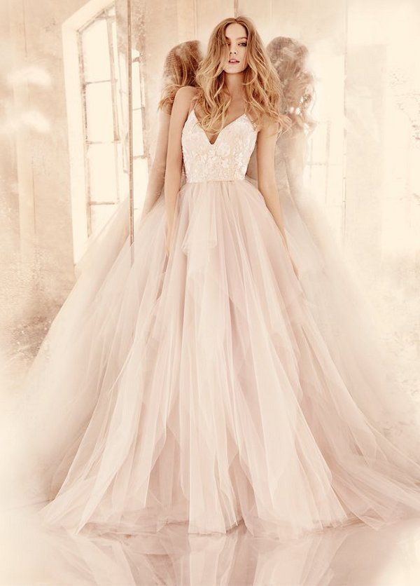 Hayley Paige blush low v neck tulle wedding dress 2016