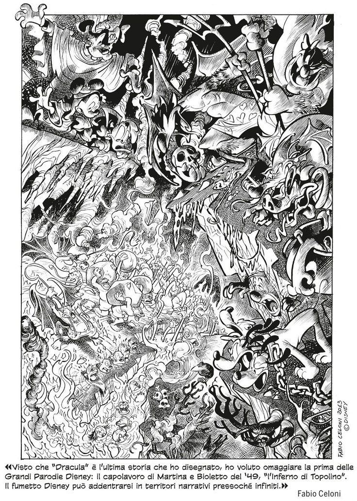 Tavola disegnata da Fabio Celoni #topolino3000