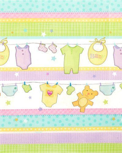 """Cuddly Clothesline Tablecover by Rubies. $7.95. Cuddly Clothesline Tablecover made of plastic, measures 54"""" x 102""""."""